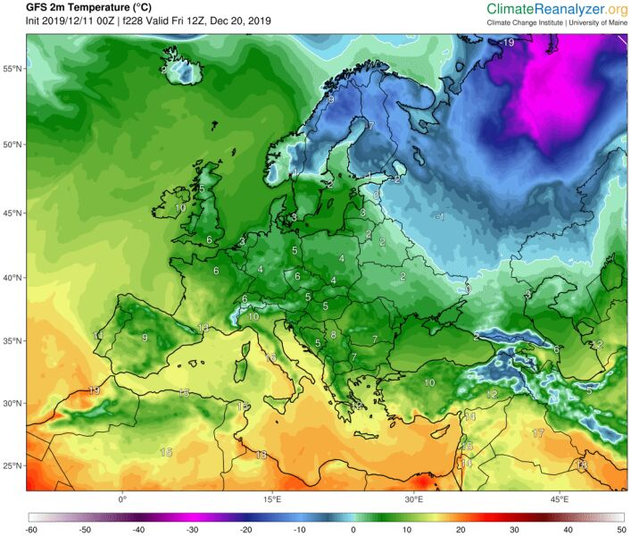 Na wschodzie Europy rozleje się chłód (ClimateReanalyzer.org)