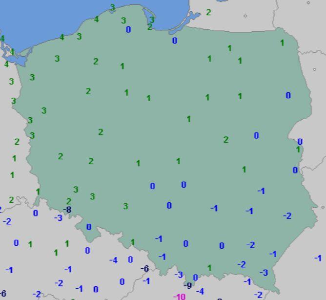 Temperatura w Polsce, godz. 7 (dane: wetteronline.de)