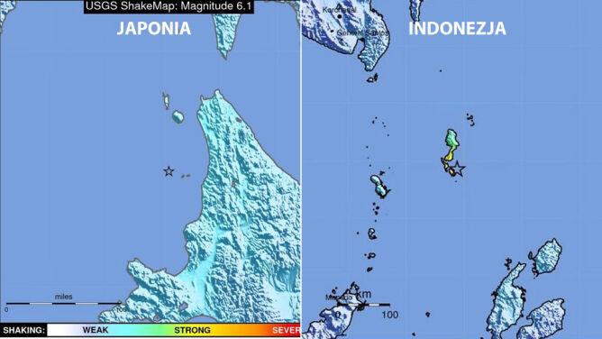 Silne wstrząsy w Japonii i Indonezji. <br />Brak doniesień o ofiarach
