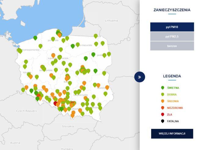 Stężenie pyłu PM10 o godzinie 15 (tvnmeteo.pl za GIOŚ)
