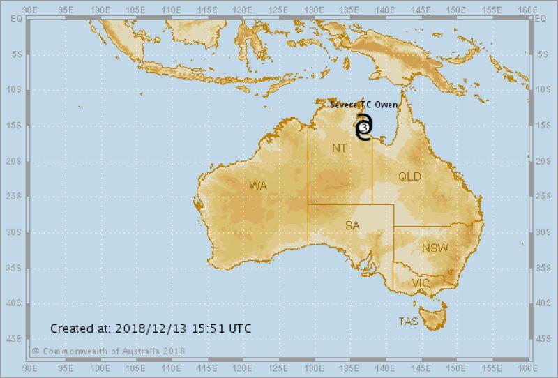 Położenie cyklonu Owen 13 grudnia o godzinie 15.50 lokalnego czasu (Bureau of Meteorology)