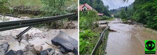 Po ulewach wezbrały potoki, woda zalała drogi koło Nowego Sącza